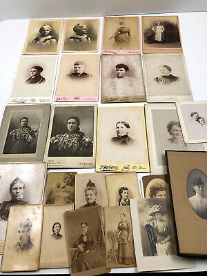 23 Antique Cabinet Photo Photograph Victorian Women Sisters Grandmother Hat 1890