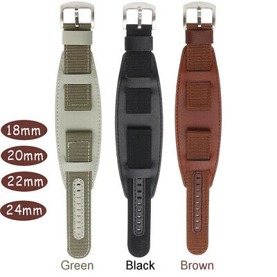 Green Brown Black Leather Fabric Canva  WristWatch Band Watch Strap Nylon