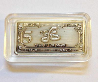 "5 Gram Tibetan Silver ""Year Of The Snake"" Ingot"