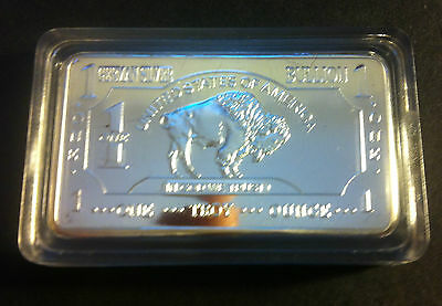"1 Troy Oz German Silver ""USA Buffalo"" Ingot"