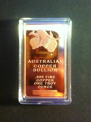 "1 OZ Australian ""Sydney Harbor Bridge"" Ingot 999.0 Pure Copper Bullion in Capsle"