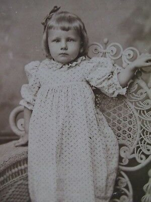 Antique Cabinet Photo-Darling Girl,Print Dress,Curls,Bow,Wicker Chair-Phila,PA