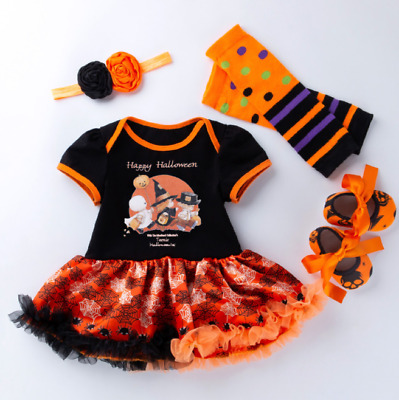 4pcs Newborn Baby Girls Halloween Party Romper Cake Smash Costume Outfit Set