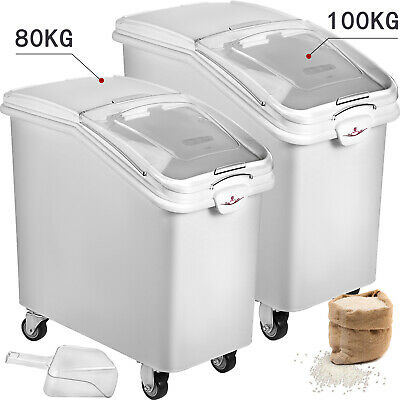 Commercial Kitchen Ingredient Bins W/ Scoop Stackable 80/100L Food Canister