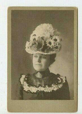 Vintage Cabinet Card Pretty Young Girl  Flowery Fancy Hat Fashion Costume