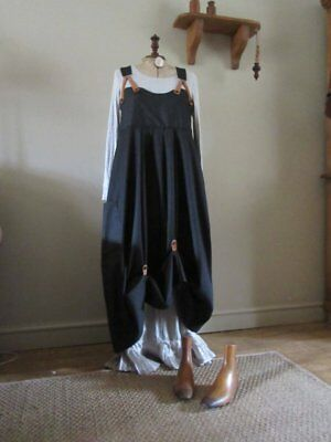 Lagenlook balloon shaped denim pinafore,hitches,real leather braces.Sz 16/18/20