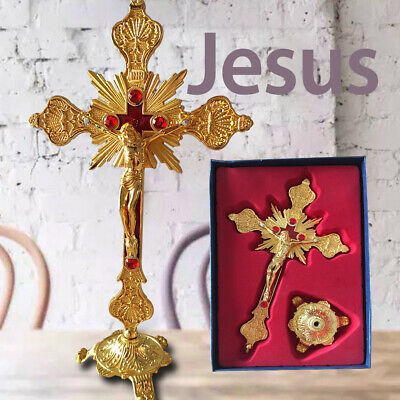 "Antique Gold Cross INRI Catholic Altar Standing Religious Crucifix Base 10"" Inch"