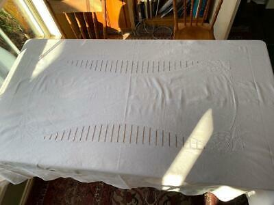 ANTIQUE FRENCH LINEN TABLECLOTH ART DECO EMBROIDERY 164cm x 240cm