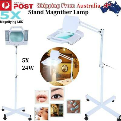 5X Magnifying Lamp 28 LED Light Magnifier Beauty Salon Floor Stand Adjustable AU