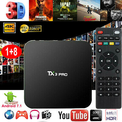 TX3PRO 4K UHD Quad Core Android 7.1.2 Amlogic Smart TV BOX WLAN Media Streamer