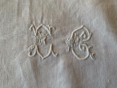 Antique French Linen Damask Tablecloth Embroidered Initials E G