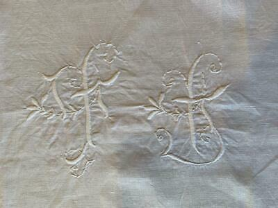 Antique French Linen Napkin Embroidered Initials