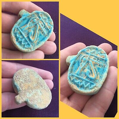 Rare ancient Egyptian blue eye of Horus amulet , pendant , 300 bc