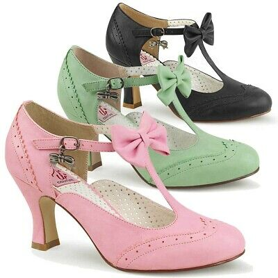 FLAPPER-11 Kitten Heels W/Bow Round Toe Wingtip T-Strap Pump with Bow & Bow Char