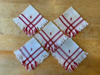 Five Antique French Linen Napkin Red And Cream Embroidered Initials A U