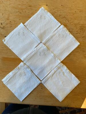 Six Small Antique French Linen Napkins Embroidered Initials E G