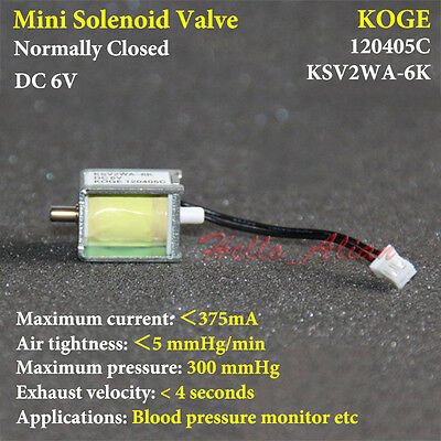DC 6V 2-way Micro Electric Solenoid Valve Normally Closed N/C for Air Gas Valve