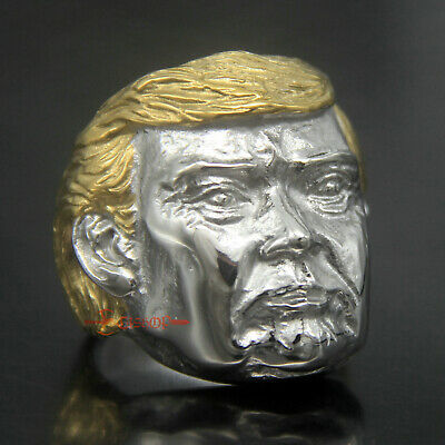 American President Donald Trump Gold Hair 316L Stainless Steel Ring Size 7-15