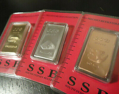 **South Sydney Bullion** 3x 1 oz_999. FINE BULLION BARs ! #BRASS #ZINC #COPPER !