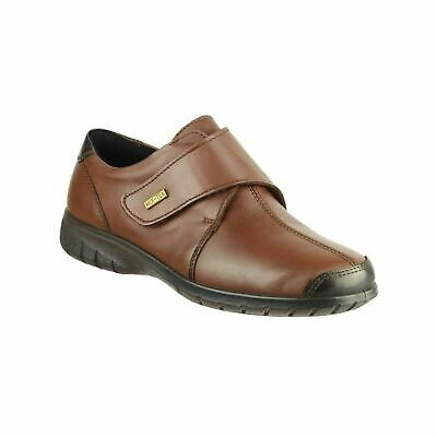 Cotswold Cranham Womens Brown Smart Waterproof Leather Touch Fasten Shoes