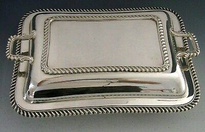 HEAVY SOLID SILVER ENTREE VEGETABLE SERVING DISH 1920 ENGLISH  ANTIQUE 1326g