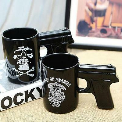 2019 Novel Ceramic Mug Sons Of Anarchy Pistol 14 oz. Coffee Cup Glaze Skull Mugs