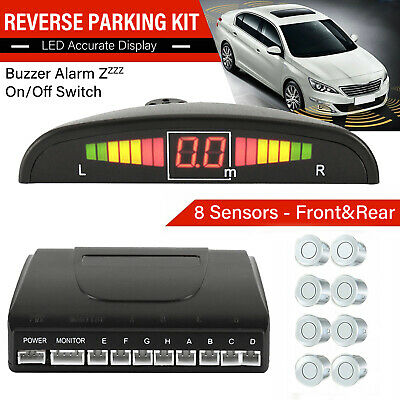 Car Front and Rear Reverse 8 Parking Sensors Buzzer Alarm Kit LED Display Silver