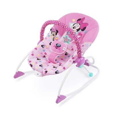 Disney Baby Minnie Mouse Stars & Smiles Infant To Toddler Rocker Pink Safety New