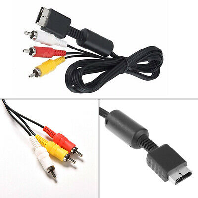 Black TV Flat 3 RCA AV Cord Video/Audio Cable For Sony Playstation PS PS2 PS3
