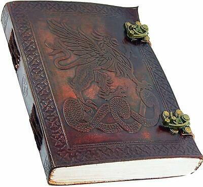 """Handmade Large 7"""" Embossed Leather Journal Celtic two latches blue stone blank p"""