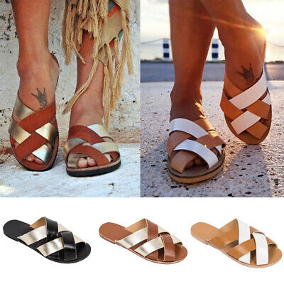 Womens Ladies Flat Cross Strap Sliders Slippers Holiday Beach Slip On Sandals