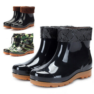 Men Rubber Waterproof Wellingtons Wellies Festival Rain Snow Ankle Boots Shoes