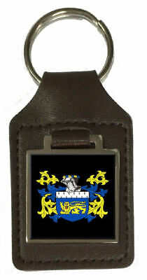 Kent Family Crest Surname Coat Of Arms Brown Leather Keyring Engraved