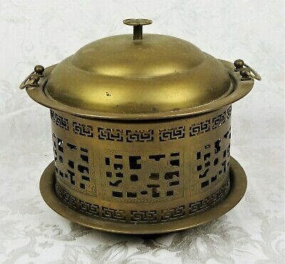 Vintage Mid Century 1950s Reticulated Buddhist Brass Rice Steamer Cooker Hot Pot
