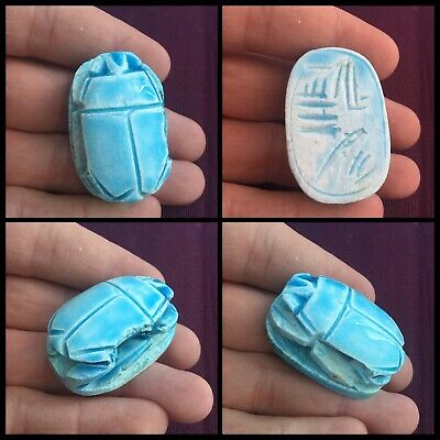 Rare ancient Egyptian blue glazed scarab beetle with hieroglyphics 300 bc