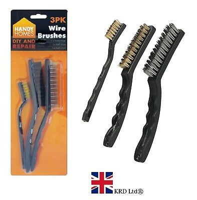3Pc WIRE BRUSH SET Small Mini Micro STEEL BRASS NYLON DIY Metal Rust Remover UK