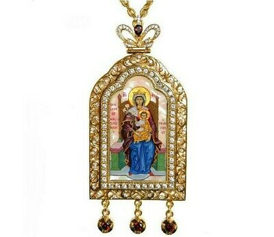 Orthodox Panagia Gold Plated Zircon Hand Painted Bishop Icon