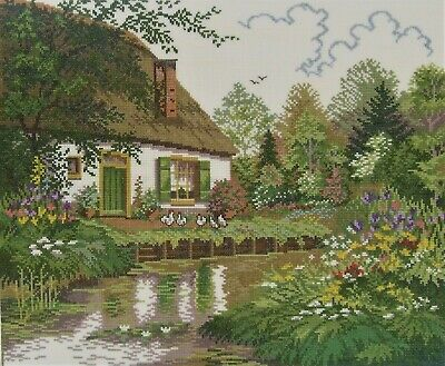 Cross Stitch Cottage Completed Unframed 30cm x 26cm