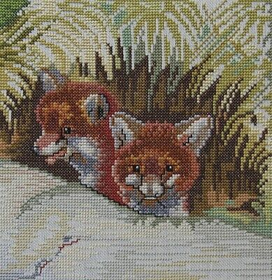 Cross Stitch Baby Foxes Completed Unframed 17cm x 17cm