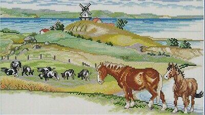 Cross Stitch Landscape with Horses Completed Unframed 36cm x 19cm