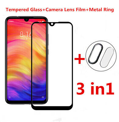 3 in1 For Redmi Note 7 9D Tempered Glass Protector +Camera Lens Film +Metal Ring