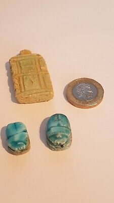 Egyptian Scarab x 2 and Stone Tablet