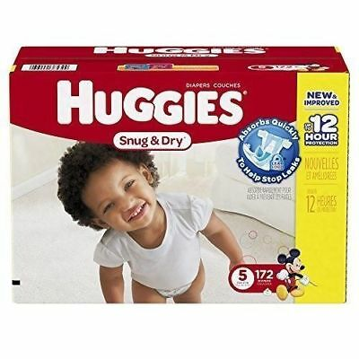 Huggies Snug & Dry, 172-Count, 27 Pounds, Size-5 Baby Diapers