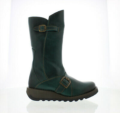 Fly London Mes 2 Womens Ladies Petrol Green Mid Calf Wedge Zip Up Leather Boots