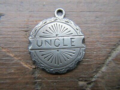 ANTIQUE VICTORIAN SILVER Double Sided LOVE TOKEN COIN CHARM ENGRAVED 'Uncle'
