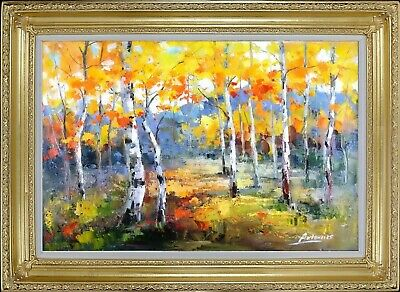 Framed Oil On Canvas, Texture Painting, Russian Landscape, Signed by Antonio