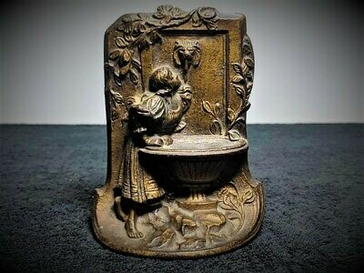 Antique Bronze Bookend - Art Deco - Victorian Girl Drinking Water - Only 1