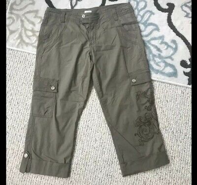 CACHE Women's Cuffed Capri Cropped Pants Cargo Olive Green Size 6 NWOT