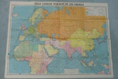 "Daily Express Original WORLD WAR TWO ""MAP ON ALL FRONTS""  1942"