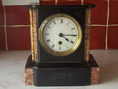 Victorian Slate And Marble Mantle Clock  Working Order.